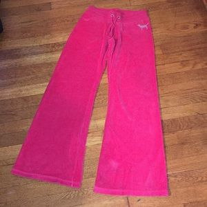 Pink velour yoga pants